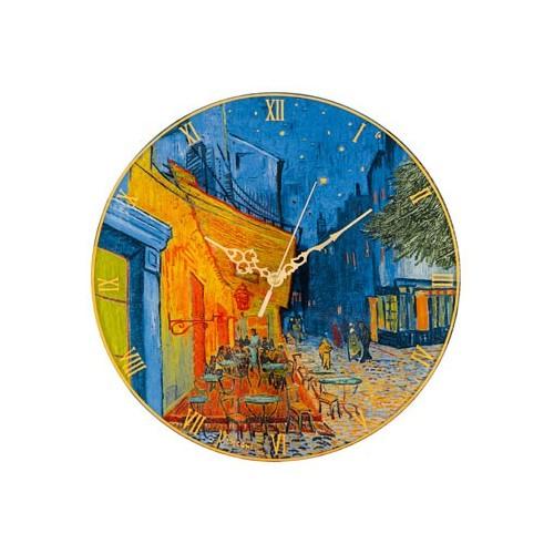 Krištáľové nástenné hodiny Cafe at Night 30,5cm