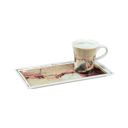 Espresso šálka s podšálkou 2ks, Michelangelo - The Creation of Adam, 0,1l, 20x10cm