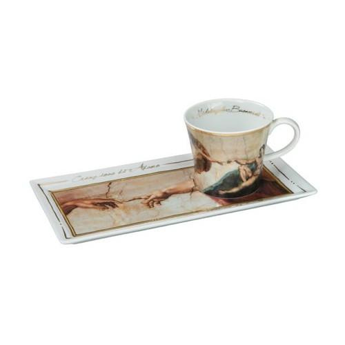 Kávová šálka s podšálkou Michelangelo - The Creation of Adam, 0,15l, 24x12cm