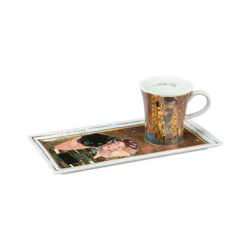 Espresso šálka s podšálkou 2ks, Gustav Klimt - The Kiss, 0,1l, 20x10cm