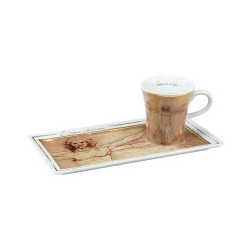 Espresso šálka s podšálkou 2ks, Leonardo da Vinci - Vitruvian Man, 0,1l, 20x10cm
