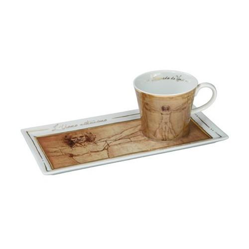 Kávová šálka s podšálkou 2ks, Leonardo da Vinci - Vitruvian Man, 0,15l, 20x12cm