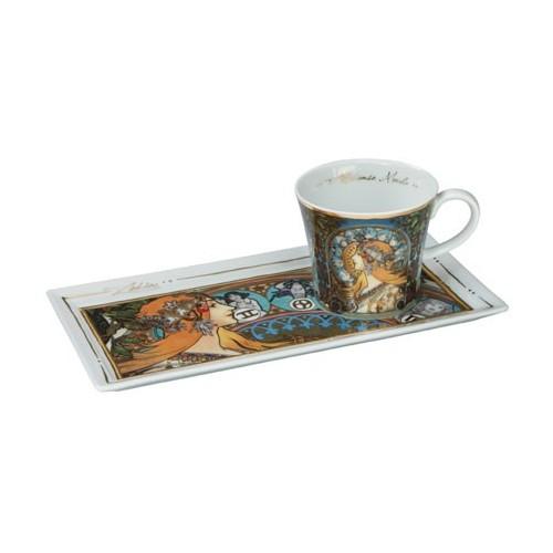 Kávová šálka s podšálkou 2ks, Alphonse Mucha - Zodiac, 0,15l, 20x12cm