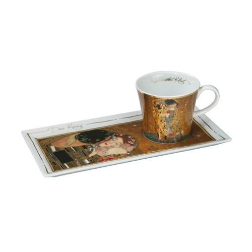Kávová šálka s podšálkou 2ks, Gustav Klimt - The Kiss, 0,15l, 20x12cm