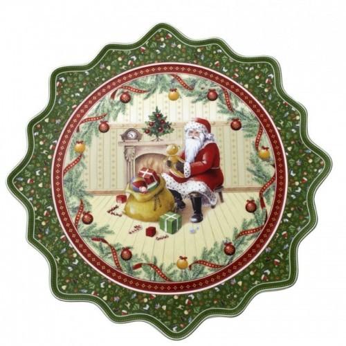 Koláčový  tanier veľký. Santa pri krbe  42cm