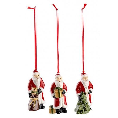 Vianočné ozdoby Santa, set 3ks 9 cm