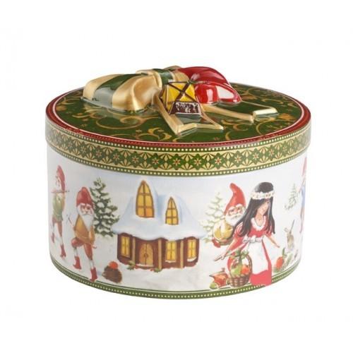 Darčekový box okrúhly stredný Snehulienka, v.10cm