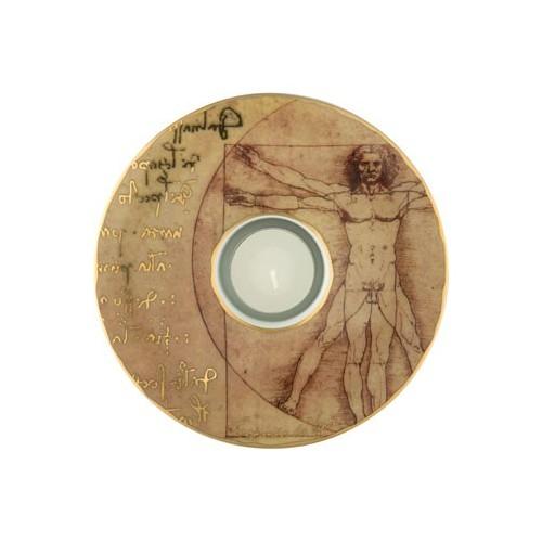 Porcelánová podložka pod čaj.sv. Leonardo da Vinci - Vitruvian Man, 15cm