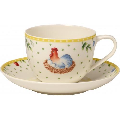 Kávová šálka s podšálkou kohútik a sliepočka
