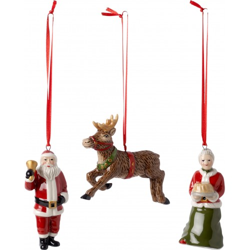 Vianočné ozdoby Santovci so sobom, set 3ks 9,5cm
