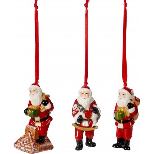 Vianočné ozdoby Santa, set 3 ks, 9cm