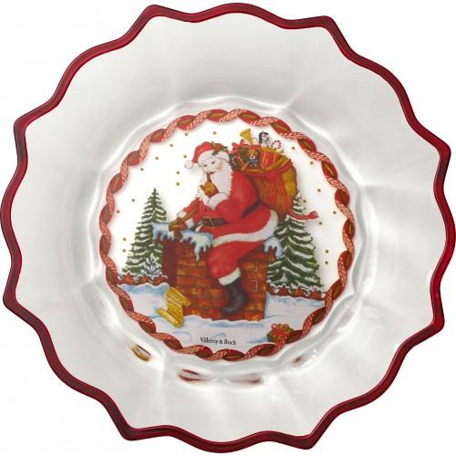 Miska sklenená Santa na komíne 25cm