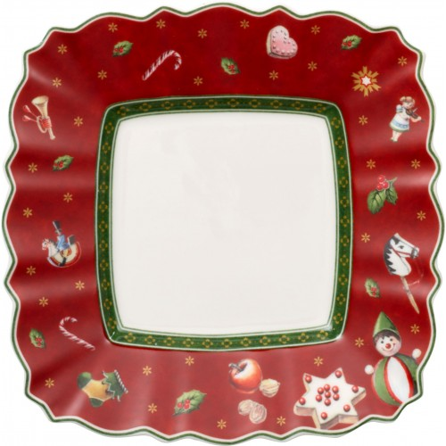 Hranatý chlebový tanier červený 17x17cm